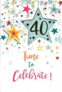 GREETING CARDS,Age 40 Unisex 6's Falling Stars