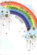 GREETING CARDS,Birthday 6's Rainbow & Stars