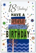 GREETING CARDS,Age 18 Male 12's Cake & Candles