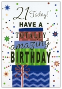 GREETING CARDS,Age 21 Male 12's Cake & Candles
