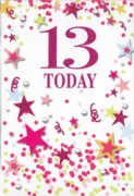 GREETING CARDS,Age 13 Female 12's Pink Stars