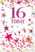 GREETING CARDS,Age 16 Female 12's Pink Stars