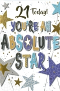 GREETING CARDS,Age 21 Male 6's Text & Stars