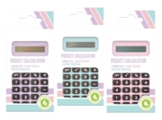 CALCULATOR,Pocket Pastel Assorted H/pk