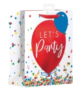 GIFT BAG, Let's Party Balloons & Confetti Design. (Large)