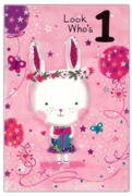 GREETING CARDS,Age 1 Female 6's Bunny & Balloons