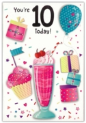 GREETING CARDS,Age 10 Female 6's Sundae, Cupcake & Presents