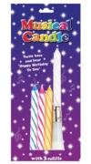CAKE CANDLES,Musical 4's Assorted with 3 Refills I/cd
