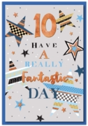 GREETING CARDS,Age 10 Male 12's Stars & Bunting