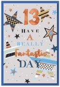 GREETING CARDS,Age 13 Male 12's Stars & Bunting
