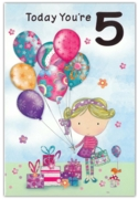 GREETING CARDS,Age 5 Female 6's Balloons & Presents