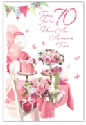 GREETING CARDS,Age 70 Female 6's Floral Cakes