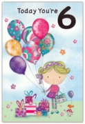 GREETING CARDS,Age 6 Female 6's Balloons & Presents