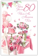 GREETING CARDS,Age 80 Female 6's Floral Cakes
