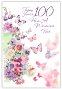 GREETING CARDS,Age 100 Female 6's Butterflies
