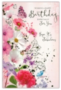 GREETING CARDS,Birthday 6's Floral Gold Foil