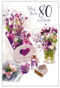 GREETING CARDS,Age 80 Female 6's Floral Lavender