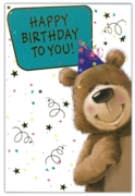 GREETING CARDS,Birthday 6's Bear in Party Hat