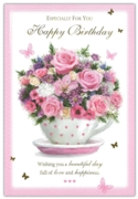 GREETING CARDS,Birthday 6's Floral Teacup