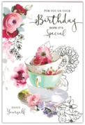 GREETING CARDS,Birthday 6's Floral Teacups