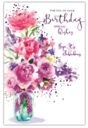 GREETING CARDS,Birthday 6's Floral Glass Vase