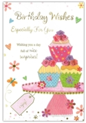 GREETING CARDS,Birthday 6's Floral Cupcakes