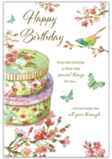 GREETING CARDS,Birthday 6's Floral Cake Tins